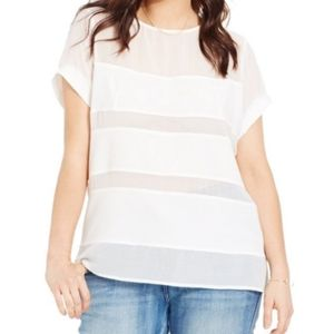 City Chic Illusion Striped Sheer Top